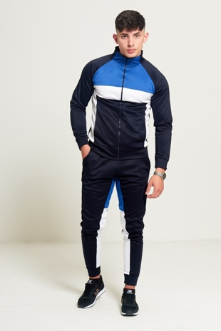 Mens Blue Navy and White Collared Tracksuit Preorder