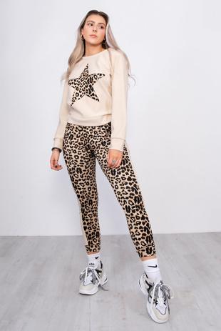 Beige Leopard Print Star Lounge Tracksuit