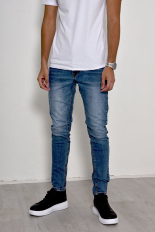 Mens Light Denim Stonewash Slim Jeans