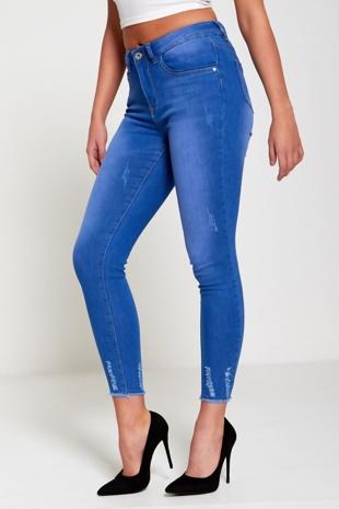 Light Denim Distressed Hem Skinny Jeans