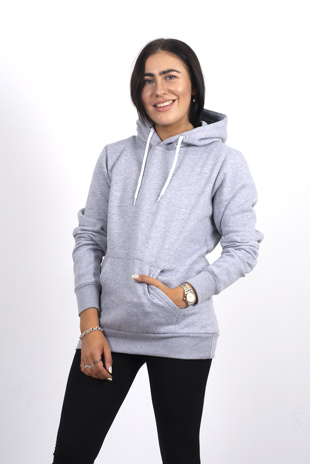Light grey pocket detail hoodie