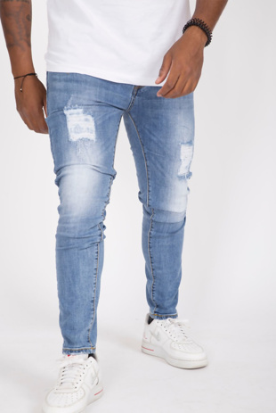 Mens Light Wash Ripped Skinny Jeans,