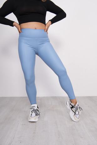 Light Blue Leather Look High Waist Leggings