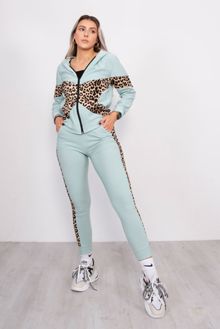 Mint Leopard Print Panel Hooded Tracksuit
