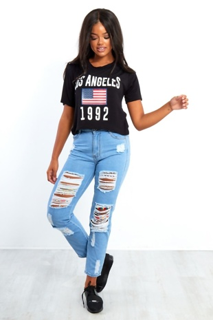 Light Blue Extreme Ripped Hidden Aztec Denim Mom Jeans