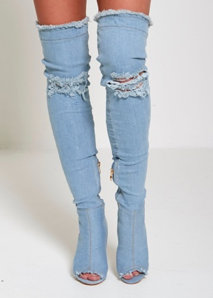 Light Denim Ripped Thigh Boots