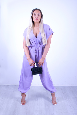 Lilac Tie Waist Harem Jumpsuit