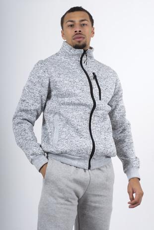 Grey Marl Textured Borg Lined Sweatshirt