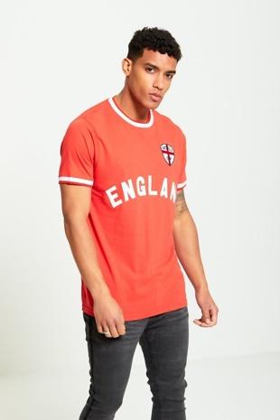 Mens Red England Print T-shirt