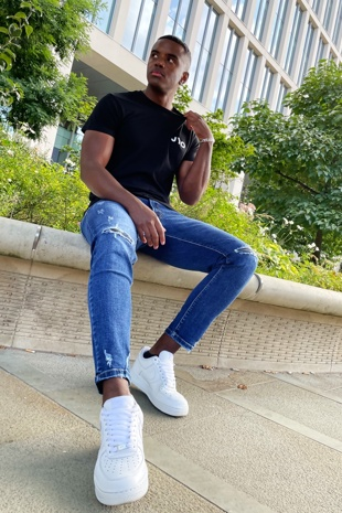 Mid Blue Wash Skinny Ripped Knee Jeans