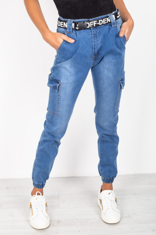 Mid Denim Cargo Pockets Denim Jeans