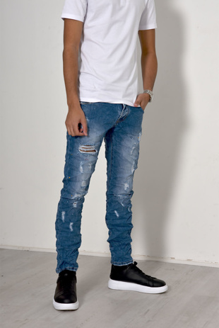 Men Mid Denim Knee Ripped Skinny Jeans