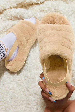 Beige Fluffy Faux Fur Stripe Slipper