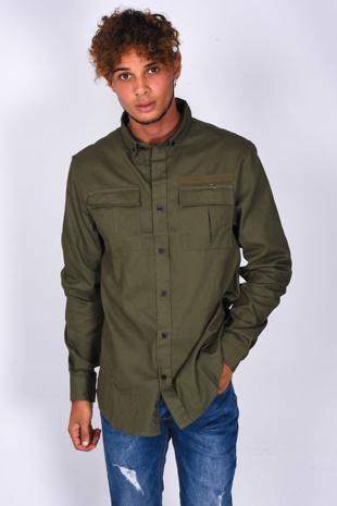 Mens Khaki Pocket Front Long Sleeve Shirt