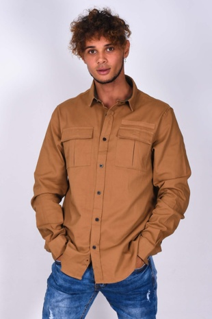 Mens Camel Pocket Front Long Sleeve Shirt