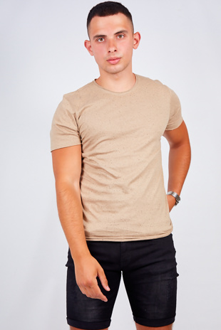 Mens Beige Speckled Nep Crew Neck T-Shirt