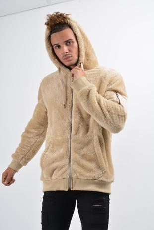 Mens Beige Teddy Faux Fur Bomber Jacket