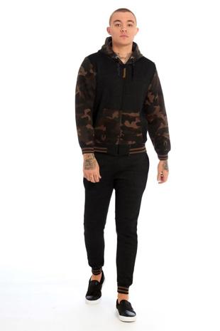 Mens Black Camo Contrast Hood Skinny Tracksuit