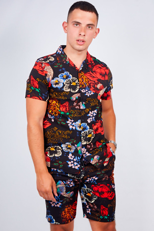 Mens Black Floral Print Shirt And Shorts Set