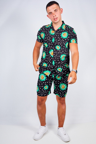 Mens Black Kiwi Fruit Print Shirt And Shorts Set