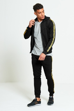 Mens Black Tracksuit With Yellow Side Graffiti Detailing