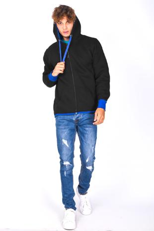 Mens Black With Blue Contrast Zip Through Hoodie