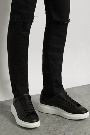 Mens Black With White Oversized Trainers