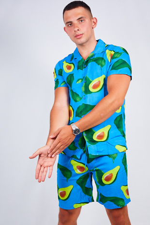 Mens Blue Avocado Print Shirt And Shorts Set