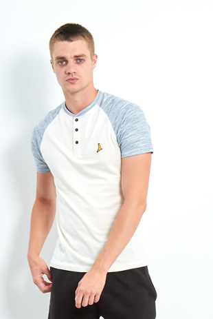 Mens Blue Button Front Raglan Sleeve T-Shirt