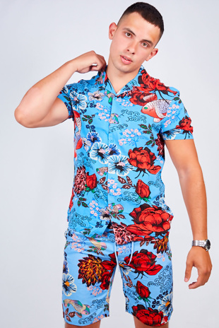 Mens Blue Floral Print Shirt And Shorts Set