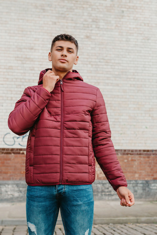 Mens Burgundy Zip Through Puffer Jacket With Hood