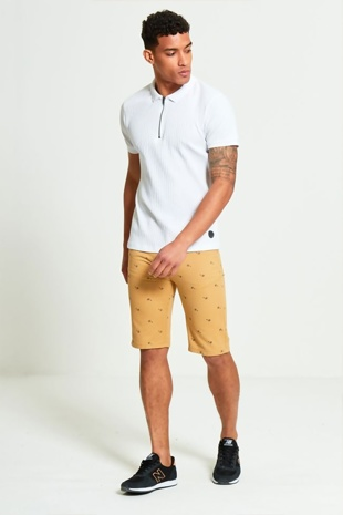 Mens Camel Bicycle Print Chino Shorts