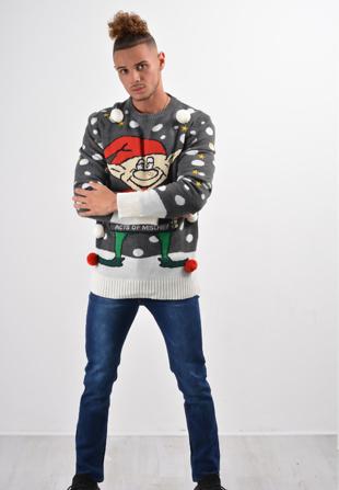 Mens Charcoal Buddy Christmas Jumper