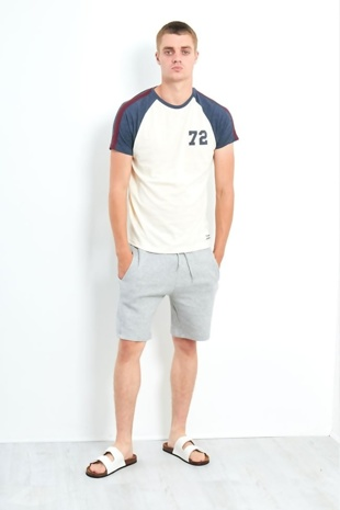 Mens Cream Number 72 Contrasting Sleeves T-Shirt