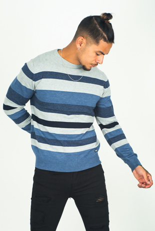 Mens Denim Striped Crew Neck Jumper