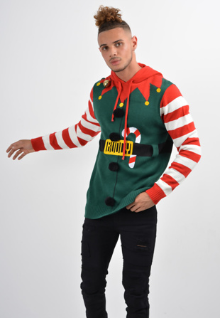 Mens Green Long Sleeve Elf Christmas Jumper