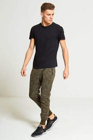 Mens Green Marl Jogging Bottoms
