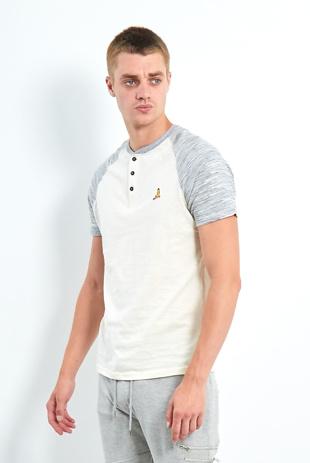 Mens Grey Button Front Raglan Sleeve T-Shirt