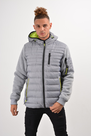 Mens Grey Contrast Detail Puffer Jacket