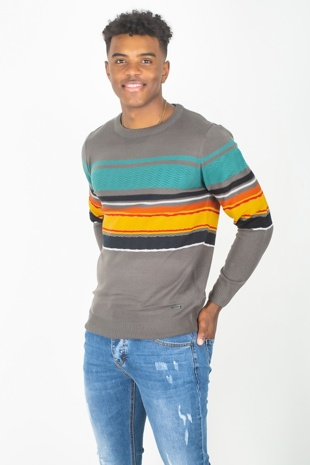Mens Grey Rib Trim Colourblock Jumper