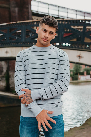 Mens Grey Stripe Cotton Crew Neck Jumper