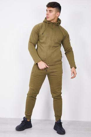 Mens Khaki Zip Through Hooded Tracksuit