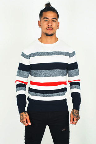 Mens Navy Striped Crew Neck Jumper