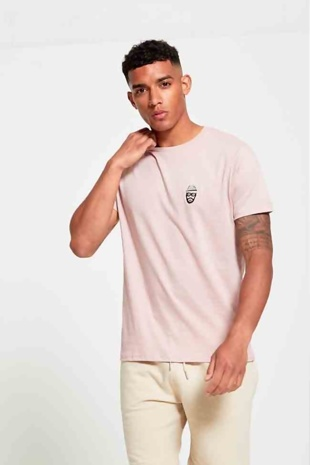 Mens Peach Gentleman Crew Neck T-Shirt