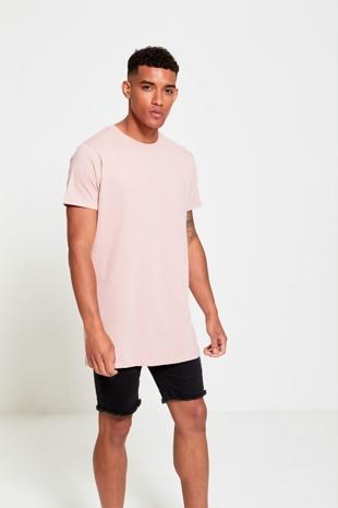 Mens Peach Longline Urban T-Shirt