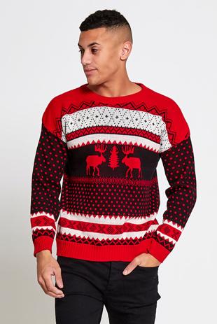 Mens Red Novelty Reindeer Knitted Christmas Jumper
