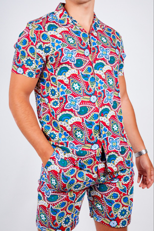 Mens Red Paisley Print Shirt And Shorts Set