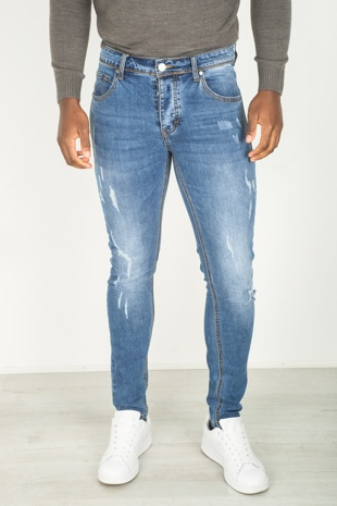 Mens Slim Fit Blue Distressed Faded Jeans