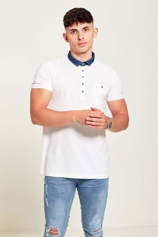 Mens White Denim Collar Polo Shirt