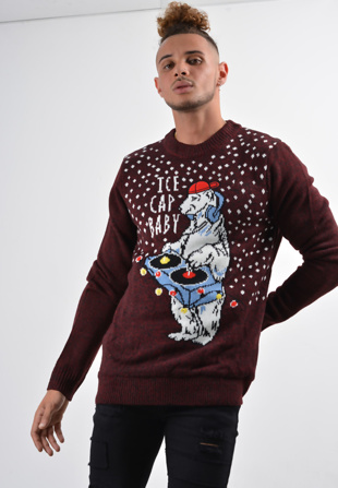 Mens Wine Ice Cap Baby Christmas Jumper